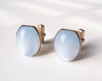 Vintage Cuff Links Anson Inc. Gold Tone Cufflinks Pale Blue Lucite Faux Moonstone Cabochons 1952 Midcentury Men's Jewelry Business Wear