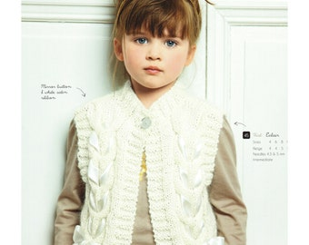 Vest for girl, knitting pattern, size 4-12 years
