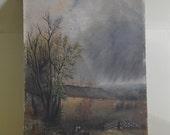 Rural Farm Scene Painting on Board