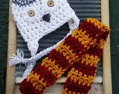 Harry Potter Hedwig Owl hat baby newborn child adult scarf set outfit gryffindor white snow snowy Potter potterheads costume