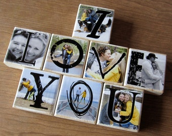 Personalized Photo Blocks- WEDDING Party and PARENT Gifts- set of 8 blocks