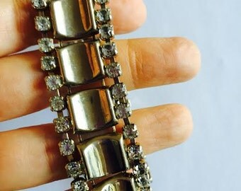 1950's Wide Chain and Rhinestone Bracelet, Vintage Thick Metal Bracelet