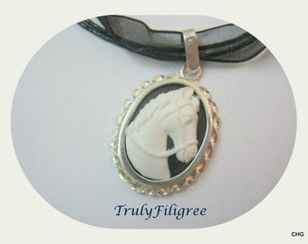 Handmade Sterling Silver Pendant / Resin Black and White Horse Cameo / Organza Cord