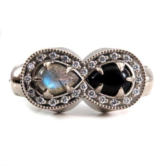 Life and Death Diamond Infinity Memento Mori Mourning Ring - 14k Palladium White Gold Skull Cocktail Ring - Onyx and Labradorite