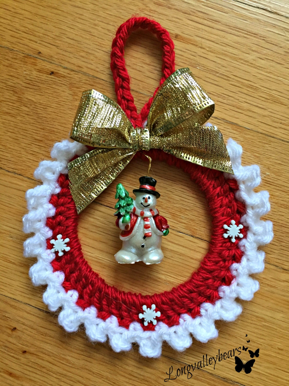 Hand Crochet Christmas Ornament Snowman Ornament wall