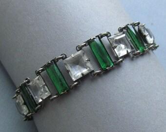 On Sale Antique Silver Glass Stone Art Deco Bracelet
