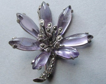 Antique German Sterling Silver Marcasite Flower Brooch Amethyst Glass Pedals Pin Circa  1930