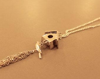 Bird House Necklace: Silver Tone Long Bird house Necklace, Bird, Bird Jewelry, Nature, Long Necklace, Bird House, Tassle