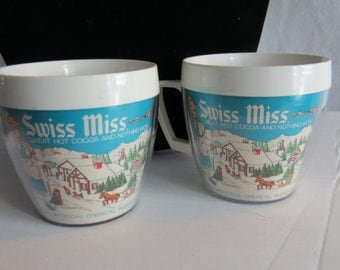 Two Vintage Swiss Miss Hot Chocolate Cocoa Cup Mug Insulated Plastic USA 1960's Box J