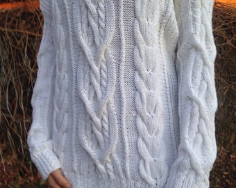 Knit Sweater, Women's sweater, Hand Knit Sweater, Cable sweater