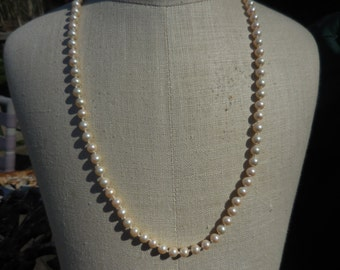 Vintage Marvella 1950s to 1960s Long Pearl Necklace Gold Tone Signed Bridal Wedding 5mm