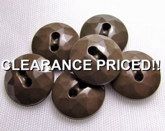 """CLEARANCE! Mocha Facets: 9/16"""" (14mm) Brown Buttons - Vintage Set of 6 Matching Buttons"""