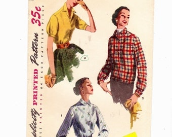 Simplicity 1277 Misses Vintage Overblouse and Blouses 1950's Long/Short Sleeve SZ 12 Bust 30""