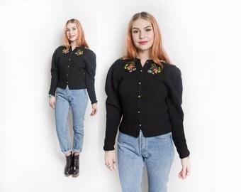 Vintage 1930s Cardigan - Black Wool Knit GERMAN Embellished Ethnic Sweater - Small