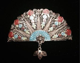 Gorgeous vintage sterling Topazio filligree enamel fan brooch pin