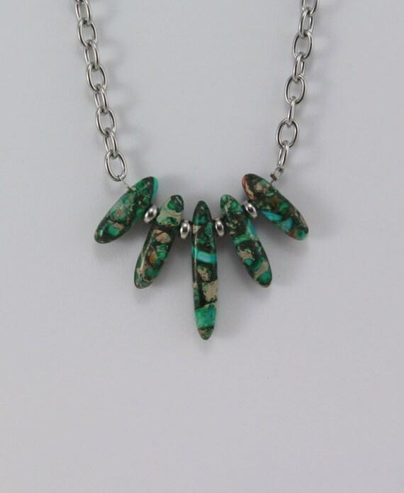 Gemstone Chain Necklace Hypoallergenic Jewelry Green