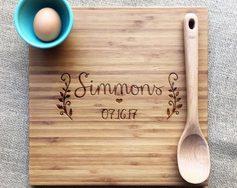 Personalized Engraved Cutting Board With Name And Date, Engraved Bamboo Cutting Board, Personalized Wedding Or Anniversary Gift