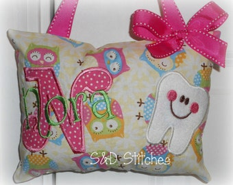 Tooth Fairy Pillow Personalized - Owls - Tooth Chart - Polka Dots - Baby Gift - Birthday Gift