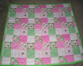 John Deere Baby Quilt - Pink