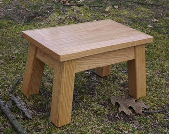"Reclaimed wood/ stool/ classic/ american/ solid oak /wood/ step stool/beveled edge/stained/ 8"" - 10"" H"