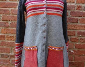 Upcycled Sweater,Boho Sweater,Eco Sweater,Shabby Chic Sweater,Nine Muses Of Crete