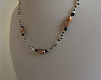 Champaign Pearl necklace, Freshwater Pearl and black Swarovski crystal necklace