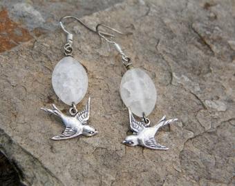 Flying bird earrings white glass earrings nature inspired dangle earrings beaded earrings gift for bird lover nature lover