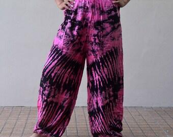 Colorful Tie Dye Pants Hippie Pant Hobo Pants Gypsy Harem Pants Boho Pants Festival pants Thai pants Pink Black OOAK TDPP-2