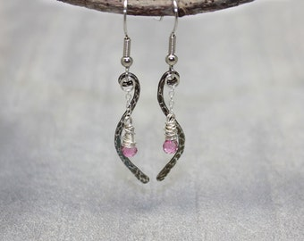 Pink Sapphire Earrings September Birthstone Jewelry Fine Silver Dangle Earrings.