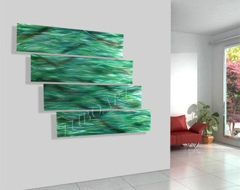 "art modern METAL painting contemporary green home office boardroom 48""x48"" wall decor Original mural sculpture hand made by Lubo Naydenov"
