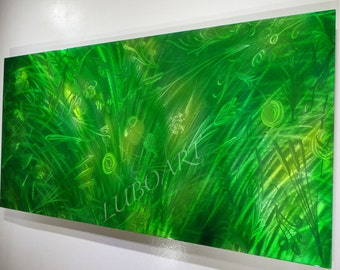 "60"" Modern METAL art flower green Long abstract office home wall decor Original modern sculpture hand made contemporary painting Video  Lubo"