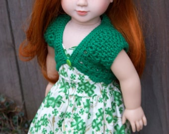 Shamrock Sundress with Crocheted Shrug for American Girl 18 inch dolls