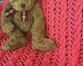 Bright Coral Knit Baby Blanket / Afghan