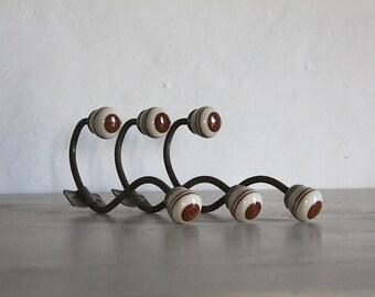 French Vintage Coat Hook, Hat Rack, Coat Rack Porcelain Pegs, Shabby Chic