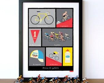 Bike Art, Tour de France, French Cycling Terms, Art Print