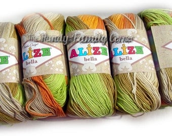 Pure Cotton Baby  Yarn: Light Weight, Alize Bella Batik Design in green and yellow (5559) SALE DSH(P3)