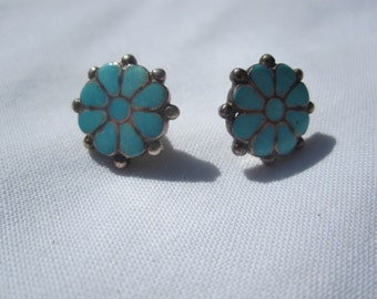Turquoise and Sterling Flower Post Earrings
