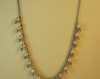Sterling and Pearl Drop Necklace