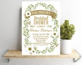 Bridal Shower Invitation - Greenery and Gold - (Printable File) Watercolor Olive Branch Floral White and Greens