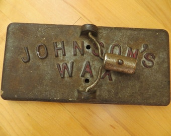 Vintage JOHNSONS WAX / Commercial Industrial caste / iron mop base 1900 to 1920 or so / reuse