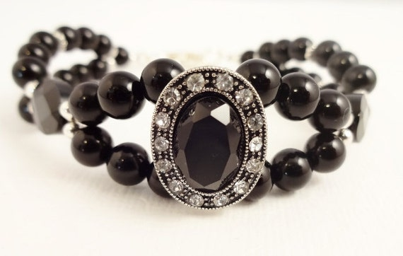 Black Onyx and Crystal Bracelet Two Strand Bracelet