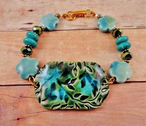 Ceramic, Turquoise, Ceramic Flowers and Czech Firepolish Bracelet, Green and Aqua Bracelet, Handmade bracelet, Boho Jewelry