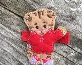 Cute Boy Tiger Wool Felt Red Tan Tiger Hair Clip Clippie Babies, Toddlers, Girls