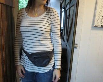 Vintage Blue Leather Fanny Pack - Vintage Leather Bum Bag