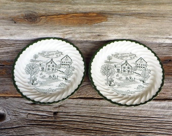 Royal China Countryside 2 Dinner Plates Country Scene Farmhouse Kitchen Rustic Housewares Green and White Rural Country Decor