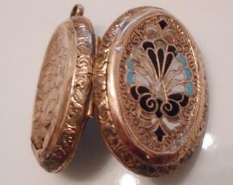 Victorian Enamel Gold Fill Photo Locket Original Beveled Glass Fittings 1870s Damage