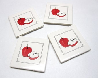 Farm Ceramic Tile Trivet Coasters Set of 4 Red Apples
