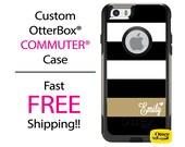 iPhone OtterBox Commuter Case for iPhone 7, 7 Plus, 6/6s, 6 Plus/6s Plus, 5/5s/SE, 5c Galaxy S7 S6 S5 Note 5 Monogram Black Gold Stripe Case