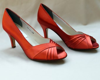 Orange Wedding Shoes low heel -- 2.5 inch heel shoes- Wides available