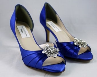 "Royal Blue low heel wedding shoe- Size 8- Sale 2.5"" heel"